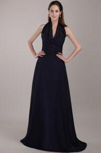 Wonderful Halter Chiffon Ruched Navy Blue Quinceanera Dama Dresses