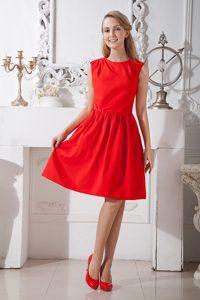 New Red A-line Scoop Knee-length Taffeta Dama Dress for Quinceaneras