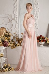 Attractive Baby Pink Zipper-up Brush Train Dama Dresses for Summer