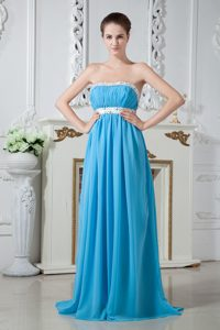 Strapless Chiffon Aqua Blue Beaded 2012 Best Seller Dresses for Dama