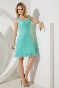 Exquisite Turquoise A-line Square Short Dresses for Damas with Straps
