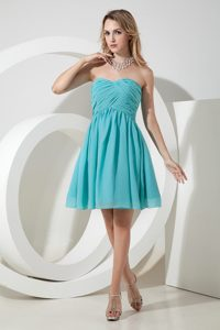 Beautiful A-line Ruched Dama Dresses for Quinceaneras in Turquoise