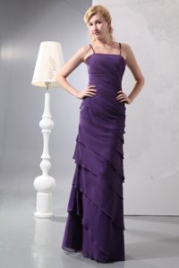 Memorable Spaghetti Dark Purple Chiffon 15 Dress for Damas with Ruffles