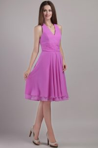 2013 Wonderful Halter Top Ruched Chiffon Dress for Damas in Lavender