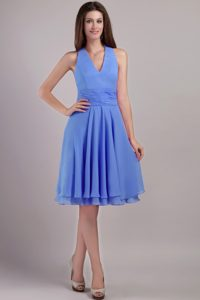 Discount Blue Chiffon Halter Top Knee-length Zipper-up Dress for Damas