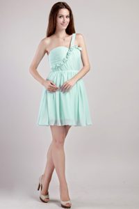 Apple Green One Shoulder Mini-length Chiffon Popular Dama Dresses