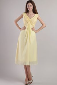 Elegant Light Yellow V-neck Ruched 16 Dresses for Damas for Summer