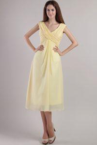Elegant Light Yellow V-neck Ruched 16 Dresses for Damas for Summer