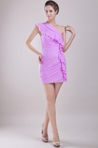Pretty Column One Shoulder Mini-length Chiffon Ruched Dama Dresses for Quinceanera