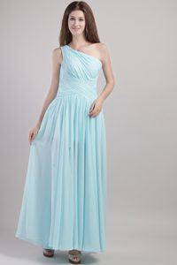 Light Blue Empire One Shoulder Ankle-length Ruched 2014 Dama Dress for Quinceanera