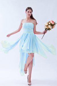 Pretty Baby Blue Empire Strapless Asymmetrical Beaded Dama Dresses for Quinceanera