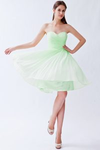 Pretty Light Green Empire Sweetheart Knee-length Chiffon Dama Dresses for Quinceanera
