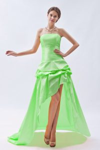 Spring Green Column Strapless High-low Dama Dress for Quince with Pick-ups on Sale