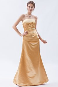 Modern Gold Column Strapless Ruched 2013 Dama Dress for Quince for Custom Made