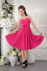 Discount Hot Pink Empire Strapless Knee-length Taffeta 2013 Dama Dress for Quince