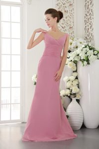 2014 Simple Baby Pink V-neck Ruched Dama Dress for Quince with Brush Train