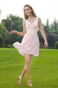 Baby Pink Empire V-neck Mini-length Chiffon 2014 Dama Dress for Quince Ruched