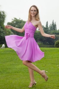 Lavender One Shoulder Knee-length Chiffon Ruched Dama Dress for Quince on Sale
