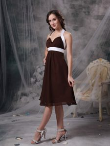 New Brown Column Halter Top Chiffon Ruched Knee-length Dama Dress