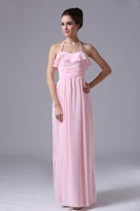 New Halter Top Pink Chiffon Column Dama Dress with Ruching for Cheap