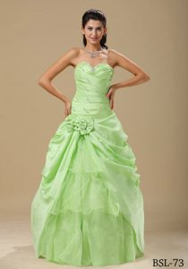 Yellow Green Discount Ruched Quinceanera Gown Dress in Organza