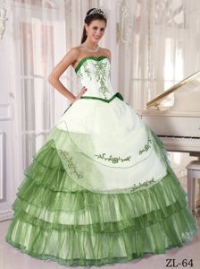 Satin and Organza Elegant Quinceanera Gown Dress with Embroidery