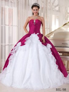 Elegant Organza and Taffeta Dress for Quinces in Fuchsia and White