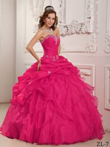 Inexpensive Strapless Beaded Organza Quince Dresses in Coral Red