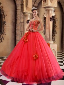 Red Strapless Discount Quinceanera Gown Dresses in Satin and Tulle