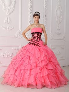 Lovely Strapless Coral Red Quinces Dress with Appliques and Ruffles