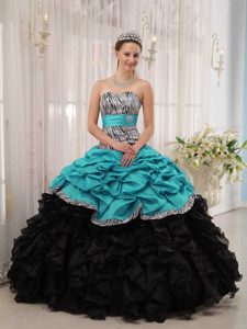 Sweet Turquoise and Black Sweet Taffeta Sixteen Dresses with Ruffles