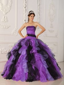 Strapless Quinceanera Gown with Appliques and Ruffles on Promotion