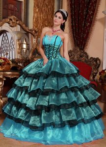 Ball Gown Sweetheart Cheap Organza Quinceanera Dress with Ruffles