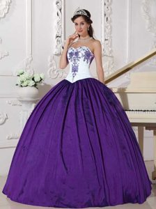 Sweetheart Embroidery Taffeta Sweet 16 Dress in White and Eggplant Purple