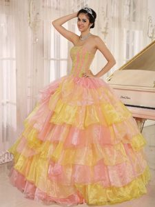 Dreamful Ruffled and Appliqued Quinceanera Dress in Yellow and Orange