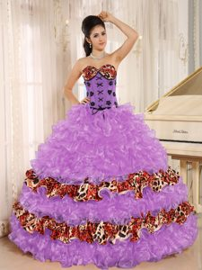 Rose Pink Sweetheart Organza Sweet 16 Dress with Ruffles and Appliques