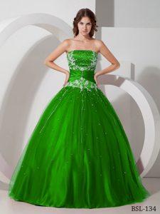 Strapless Beading Floor-length Taffeta Appliques Quinces Dresses