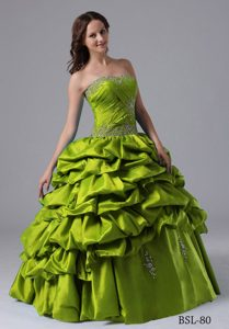 Green Pick-ups Beading Dress for a Quinceanera with Ruche in 2013