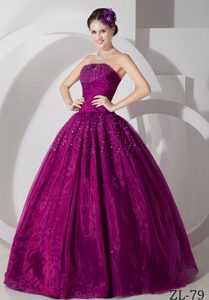 Fuchsia Princess Floor-length Tulle Beading Sweet Sixteen Dresses