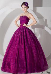 Fuchsia Princess Floor-length Tulle Beading Sweet Sixteen Dresses