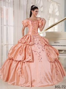 Off The Shoulder Embroidery Taffeta Ball Gown Quinces Dresses