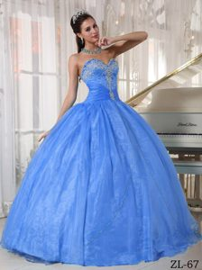 2014 Cute Appliques Blue Ball Gown Organza Floor-length Dresses 15