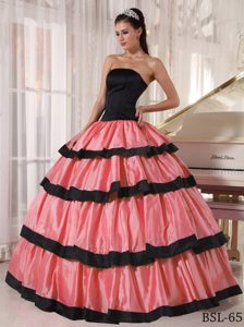 Watermelon Strapless Ruffles Floor-length Taffeta Dresses for 15