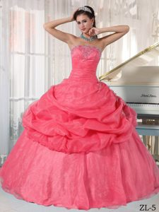 Strapless Watermelon Ball Gown Sweet Sixteen Quinceanera Dresses