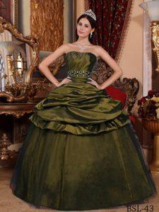 Olive Green Strapless Taffeta Beading Pick-ups Quinceanera Dress