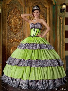 Zebra Print Ruffle Layers Ball Gown Quince Dresses Floor-length
