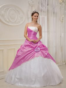 Fashionable Lavender and White Taffeta and Tulle Beaded Dresses for Quince