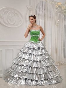 A-line Green and Sliver Taffeta and Satin Beaded Quinceanera Gown Dresses
