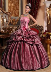 Taffeta Hand Made Flower Pink Ball Gown Quinceanera Dresses for Spring