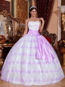 2013 White and Lavender Organza Spaghetti Straps Quinceanera Gown Dresses